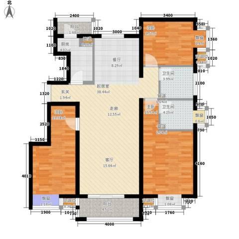 金润凤凰洲3室0厅2卫1厨122.00㎡户型图