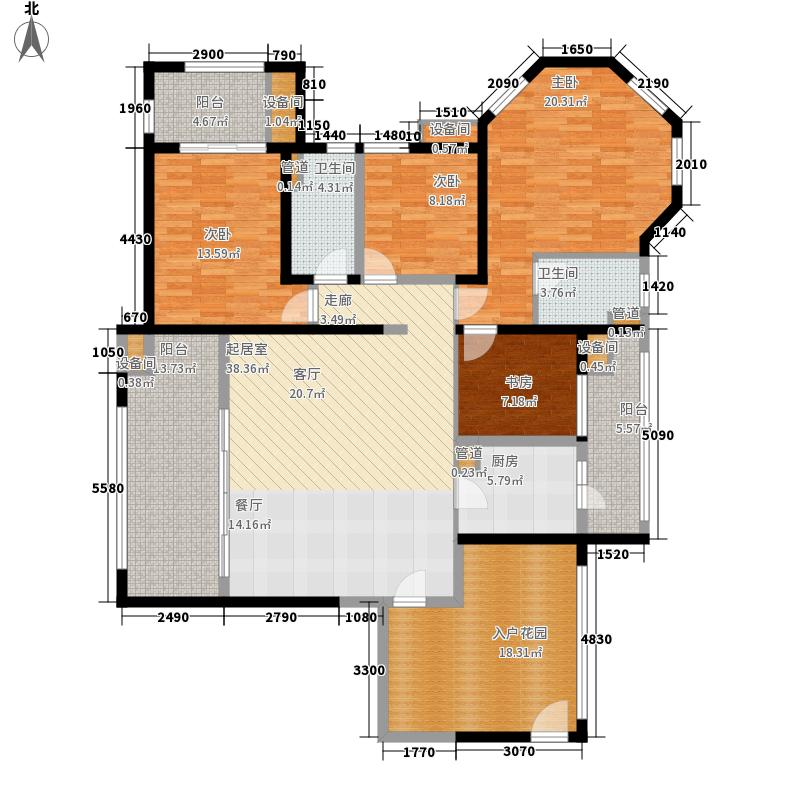 中德英伦联邦114.00㎡B区16、17、18号楼E户型4室2厅2卫1厨