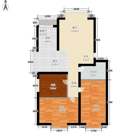 绿海华庭3室1厅1卫0厨83.04㎡户型图