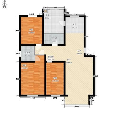 德意名典3室1厅2卫1厨139.00㎡户型图