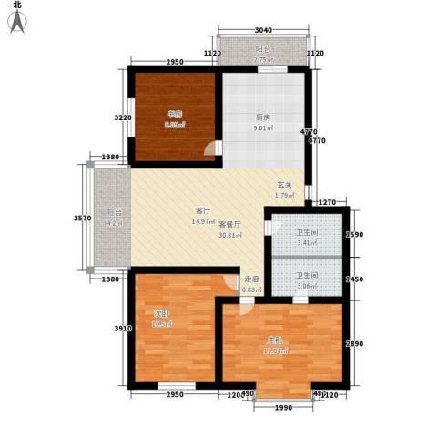 绿海华庭3室1厅2卫0厨80.98㎡户型图