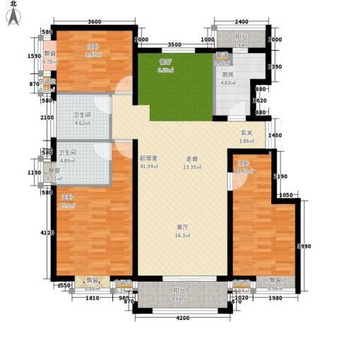金润凤凰洲3室0厅2卫1厨131.00㎡户型图