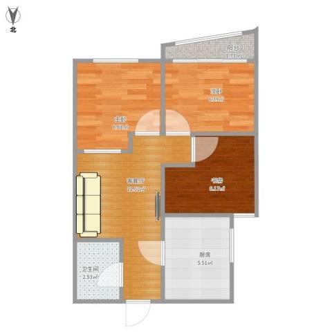 东方东路3室1厅1卫1厨56.00㎡户型图