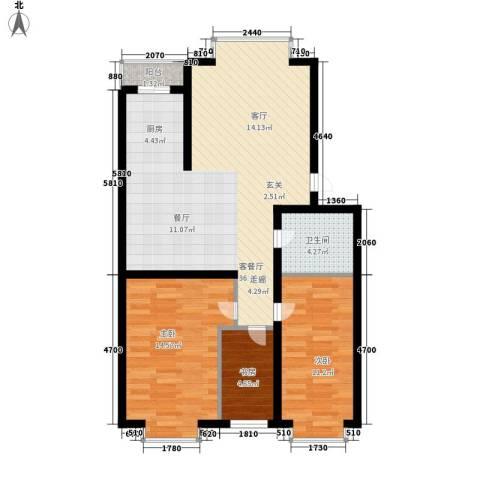 绿海华庭3室1厅1卫0厨81.53㎡户型图