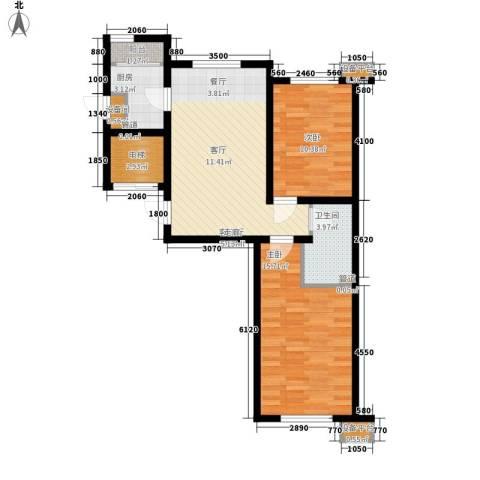 咖啡小镇二期2室1厅1卫1厨87.00㎡户型图