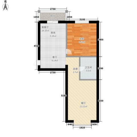 绿海华庭1室1厅1卫0厨47.10㎡户型图
