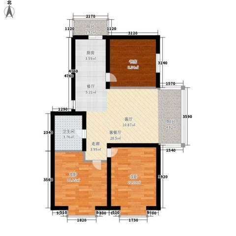 绿海华庭3室1厅1卫0厨73.99㎡户型图