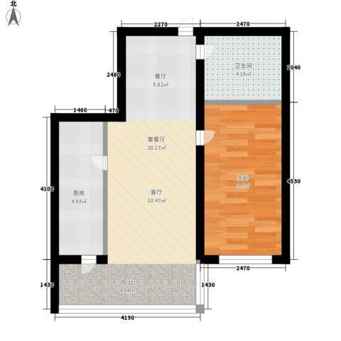 绿海华庭1室1厅1卫1厨45.00㎡户型图
