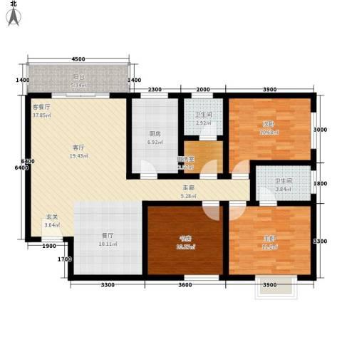 曲江上郡3室1厅2卫1厨134.00㎡户型图