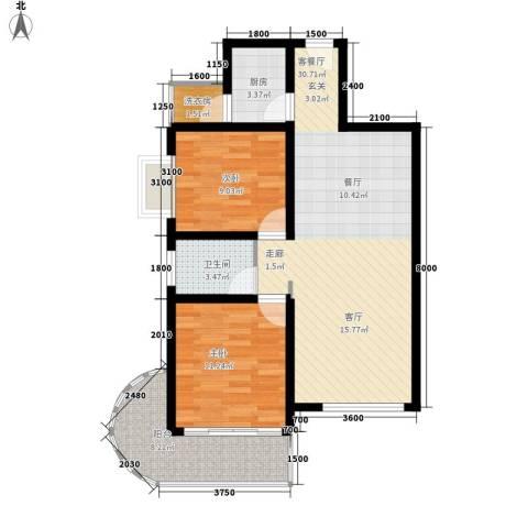 曲江上郡2室1厅1卫1厨91.00㎡户型图