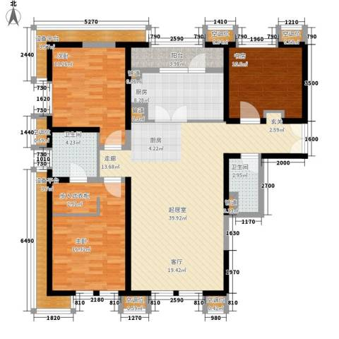 中粮大道3室0厅2卫1厨158.00㎡户型图