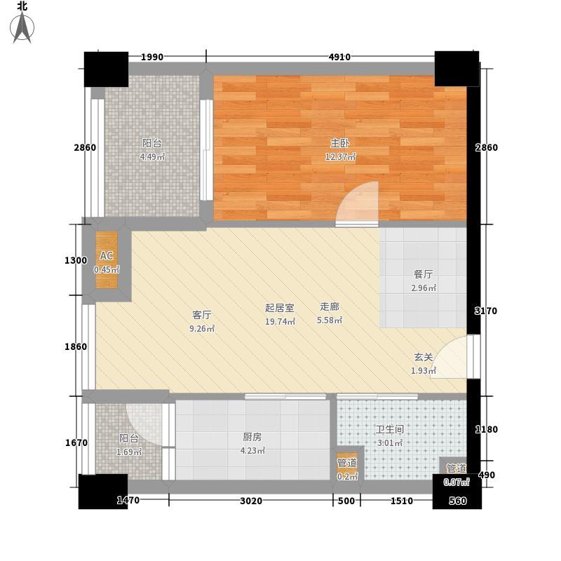 中冶北麓原64.01㎡两江国际公寓1号楼15-22层3-5号房户型1室1厅
