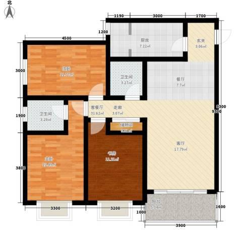 曲江上郡3室1厅2卫1厨127.00㎡户型图