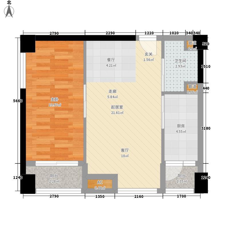中冶北麓原73.76㎡两江国际公寓1号楼标准层1号房户型1室1厅