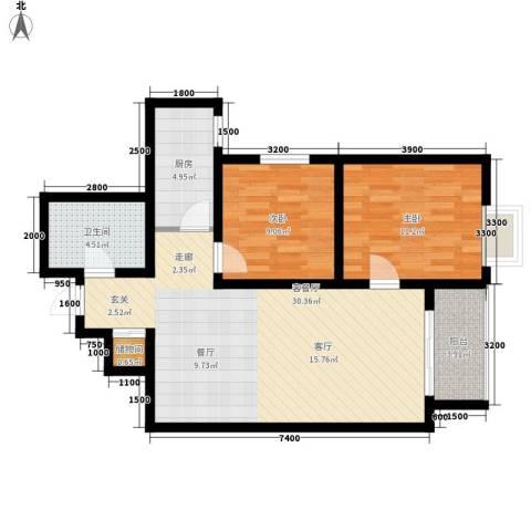 曲江上郡2室1厅1卫1厨94.00㎡户型图