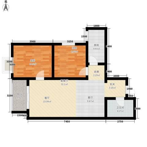 曲江上郡2室1厅1卫1厨93.00㎡户型图