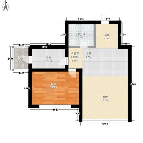 绿海华庭1室1厅1卫1厨43.39㎡户型图