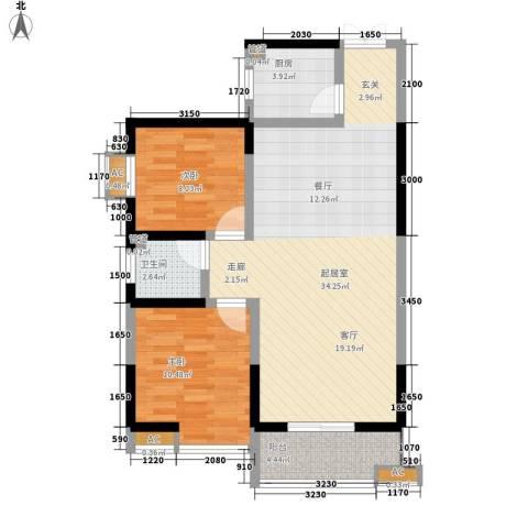 瑞泰卡地亚2室0厅1卫1厨91.00㎡户型图