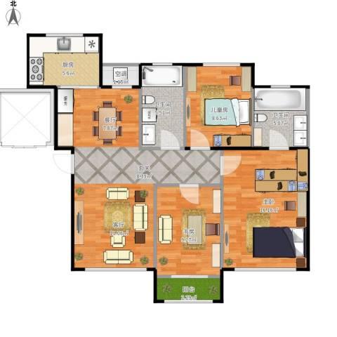 欧尚广场3室1厅2卫1厨110.00㎡户型图