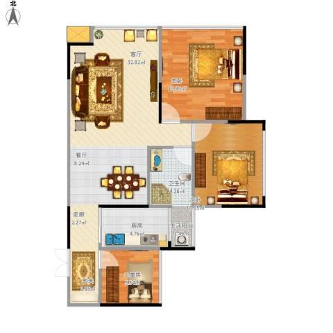 瀛嘉帝逸城3室1厅1卫1厨98.00㎡户型图