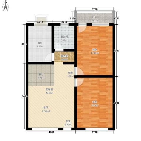 新世界商贸城2室0厅1卫1厨88.00㎡户型图