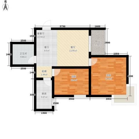 曲江上郡2室1厅1卫1厨87.00㎡户型图