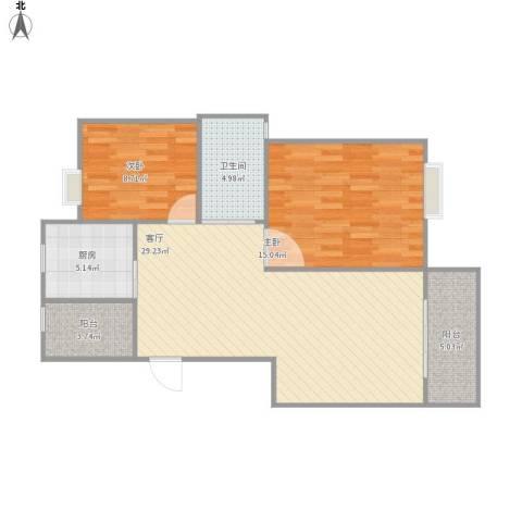 文博苑2室1厅1卫1厨97.00㎡户型图