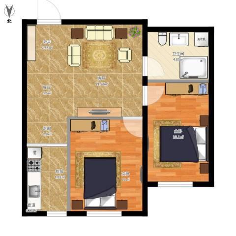 中泽城2室1厅1卫1厨69.00㎡户型图