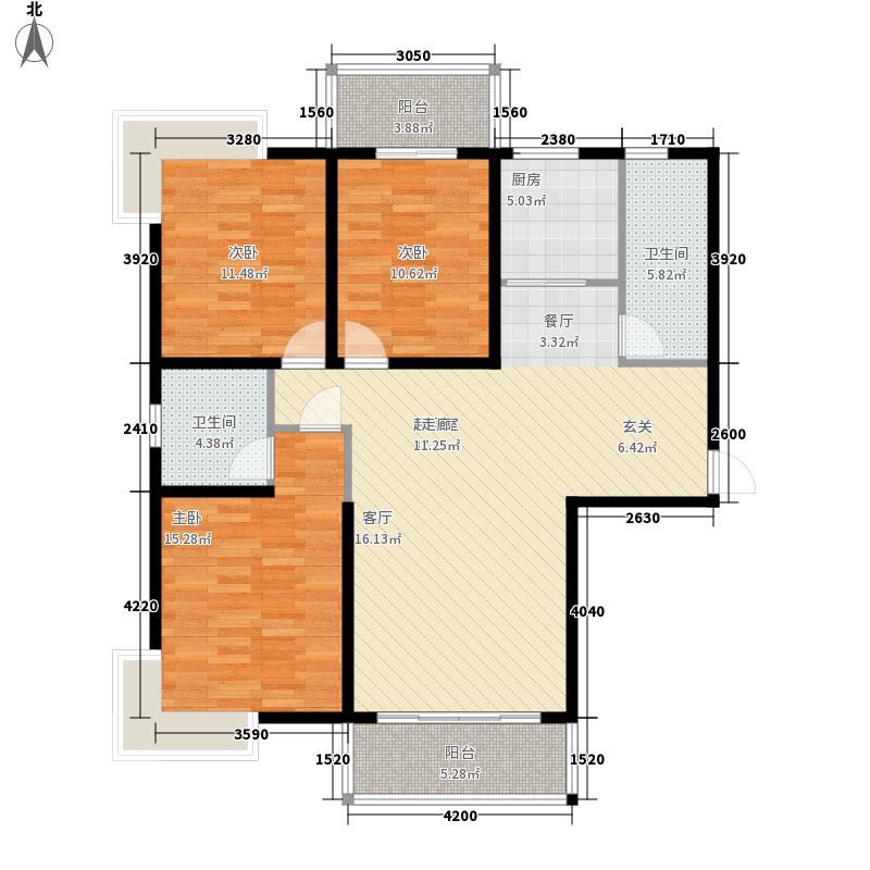鸿源・正东佳源125.38㎡三栋标准层C户型3室2厅2卫1厨