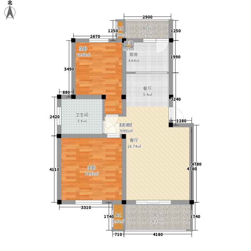 顺城名湾85.00㎡多层F户型2室2厅1卫1厨