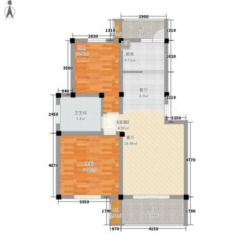 顺城名湾2室0厅1卫1厨85.00㎡户型图