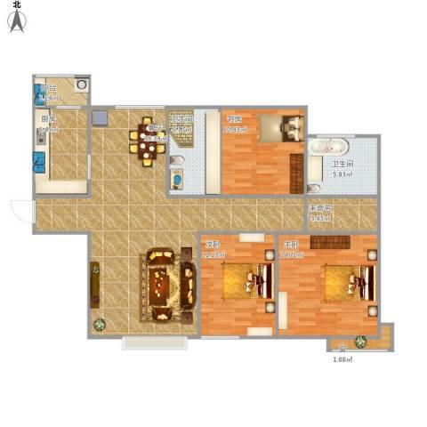 融创中央学府3室1厅2卫1厨136.00㎡户型图