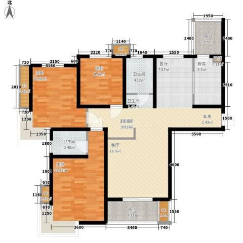 天房峰阁3室0厅2卫1厨144.00㎡户型图