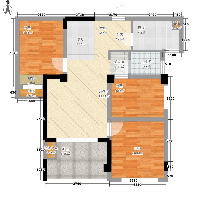 阳光理想城76.00㎡花语海E1户型3室2厅1卫1厨