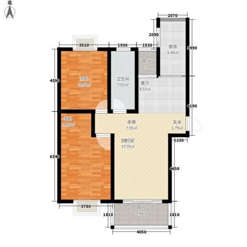 中豪国际星城三期2室0厅1卫1厨90.39㎡户型图