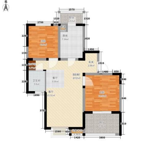 美满锦园2室1厅1卫1厨88.00㎡户型图
