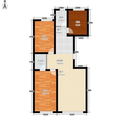 御景名家3室0厅1卫1厨117.00㎡户型图