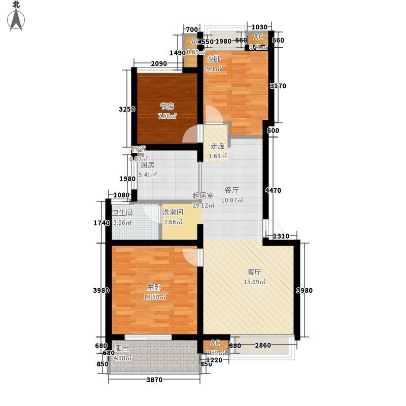 万科白马花园86.00㎡上海南都白马花园B-3a型户型3室2厅1卫