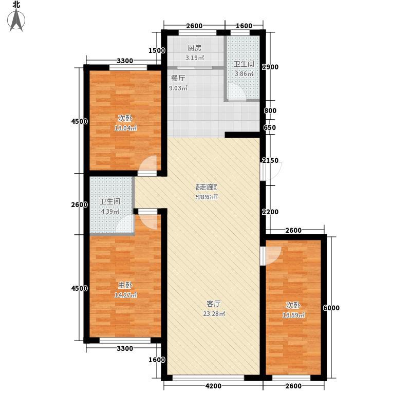 御景名家134.90㎡K户型3室2厅2卫1厨