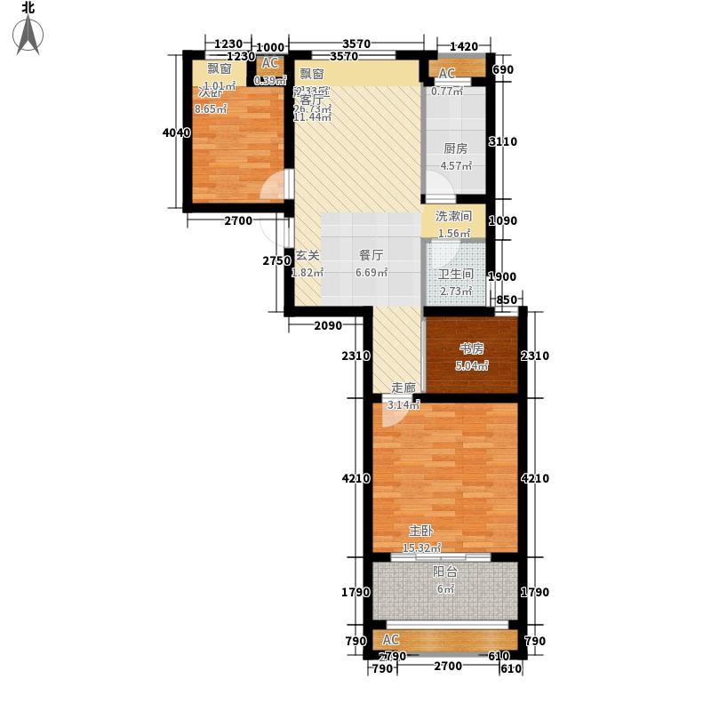 尚格青春88.73㎡二期A5户型3室2厅1卫1厨