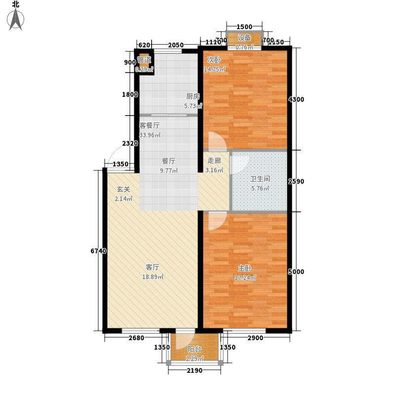 绿地英湖印象88.00㎡A户型2室2厅1卫