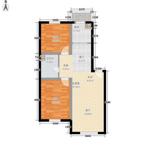 龙城富苑2室0厅1卫1厨75.00㎡户型图