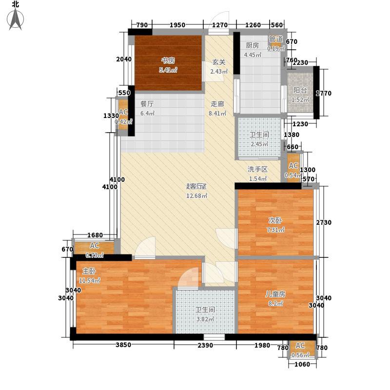 龙光君悦华庭2.75㎡一期6栋标准层A3户型4室2厅2卫1厨