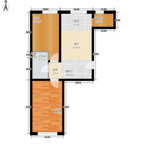 福顺江山2室1厅1卫0厨73.00㎡户型图