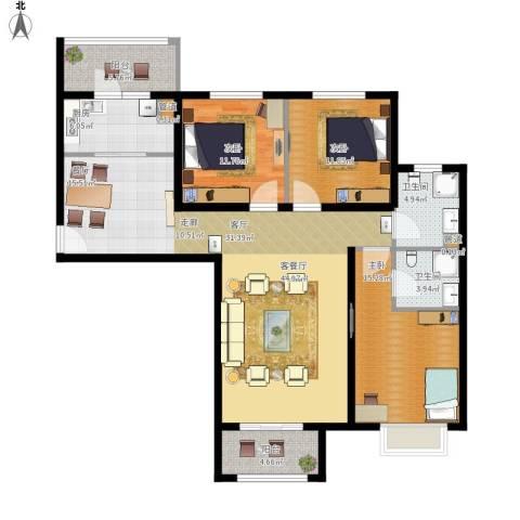 悦澜湾3室1厅2卫1厨155.00㎡户型图
