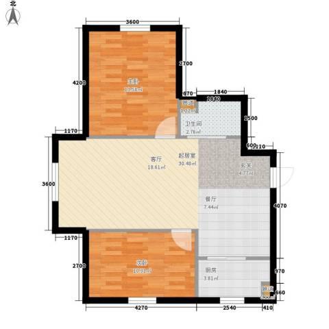 龙城富苑2室0厅1卫1厨74.00㎡户型图