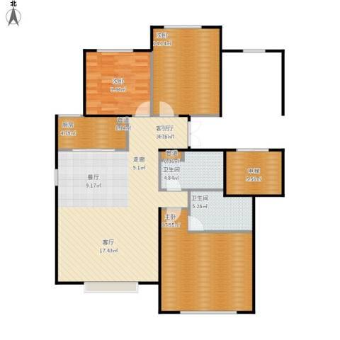 北京城建·世华龙樾3室1厅2卫1厨131.00㎡户型图