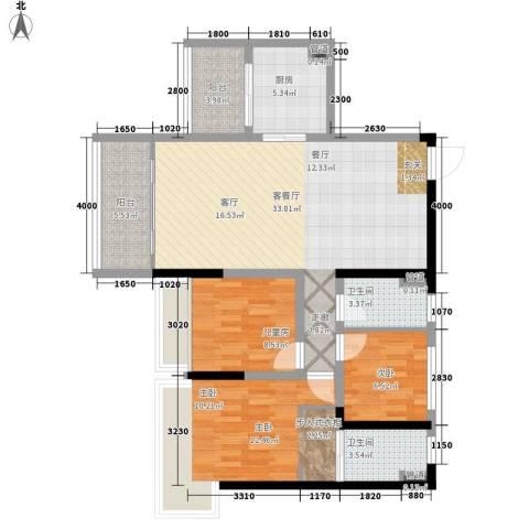 誉港湾花园3室1厅2卫1厨96.15㎡户型图