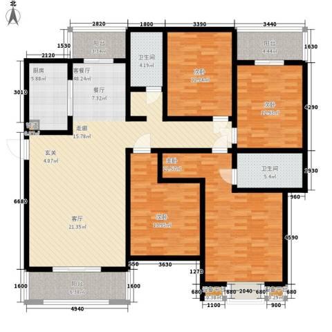 嘉业阳光水榭别墅4室1厅2卫1厨203.00㎡户型图