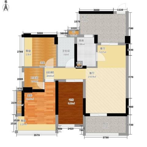 潜龙曼海宁二期3室0厅2卫1厨89.01㎡户型图